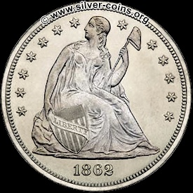 1862 liberty seated silver dollar