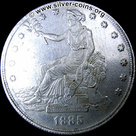 Counterfeit 1885 Silver Trade Dollar - Obverse