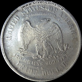 Counterfeit 1885 Silver Trade Dollar Coin - Reverse