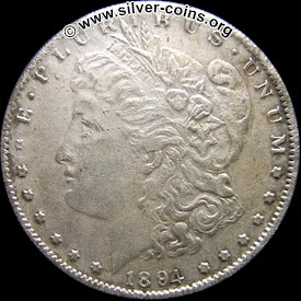 Counterfeit 1894 Morgan Dollar - Obverse