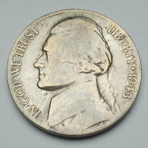 1943 US 5 Cent Nickel - Obverse