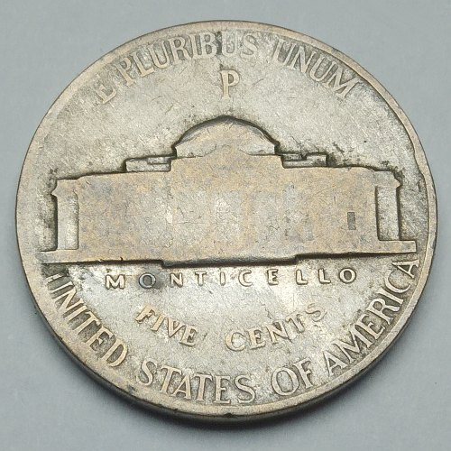 1943 US 5 Cents Nickel - Reverse