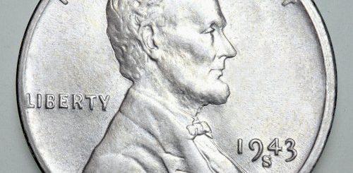 1943 steel penny mintmark s - obverse