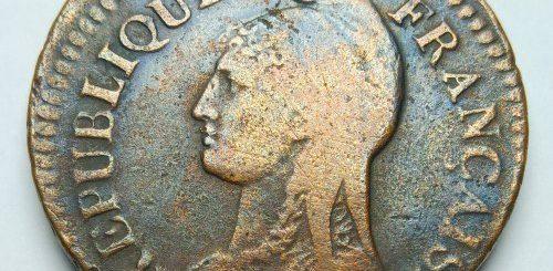 French Republic Off-center strike error coin - Obverse