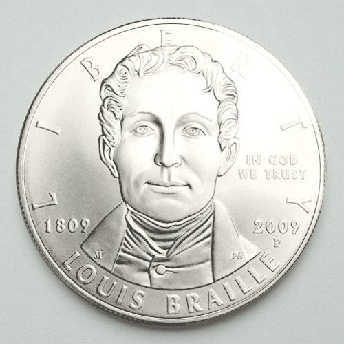 Louis Braille Commemorative Silver Dollar obverse