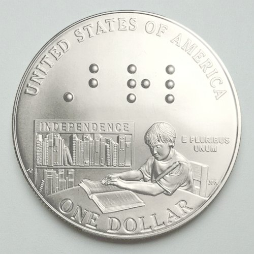 Louis Braille Commemorative Silver Dollar reverse