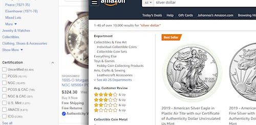 Selling coins online on eBay or Amazon