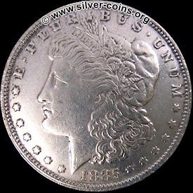 Counterfeit 1885 Morgan Dollar - Obverse