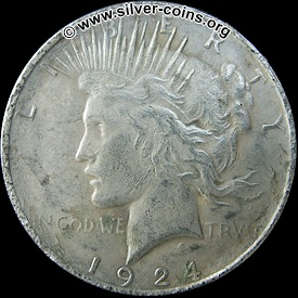 Counterfeit 1924 Peace Dollar – Obverse (Liberty)