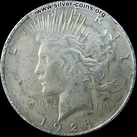 Counterfeit 1924 Peace Dollar – Obverse (Liberty)