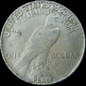 Counterfeit 1924 Peace Dollar – Reverse